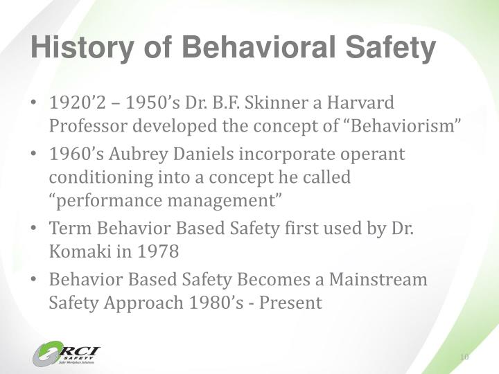 History of Behavioral Safety