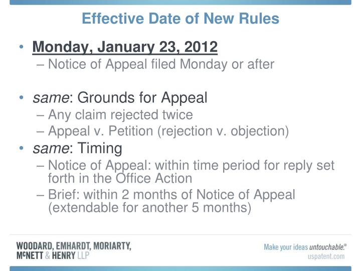 Effective date of new rules