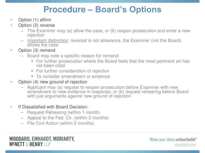 Procedure – Board's Options