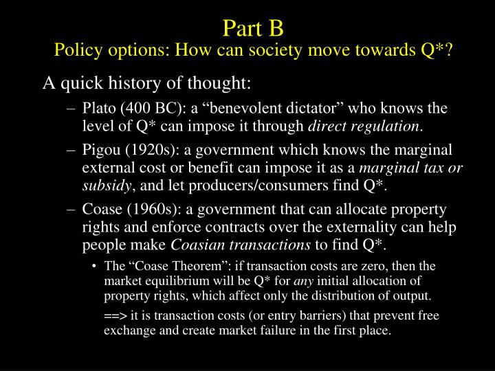 Part b policy options how can society move towards q