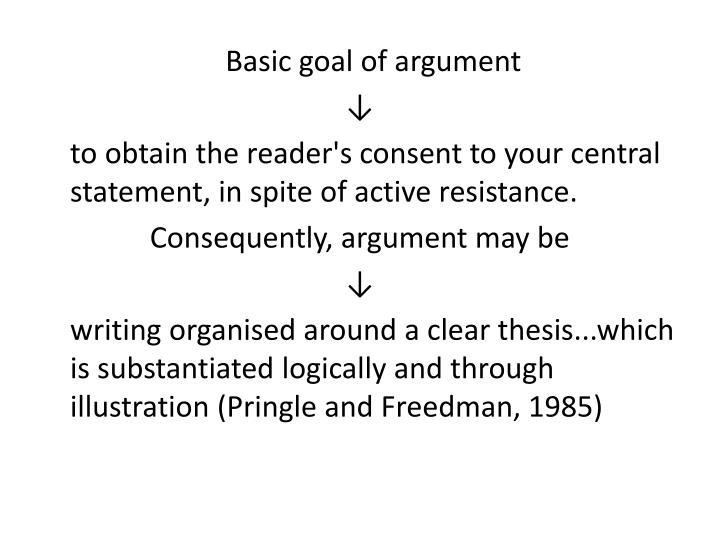 Basic goal of argument