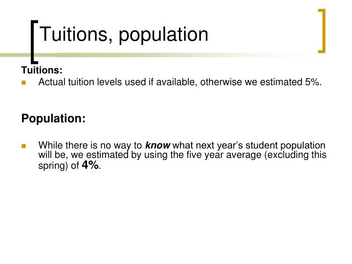 Tuitions, population