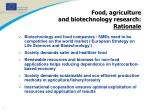 food agriculture and biotechnology research rationale