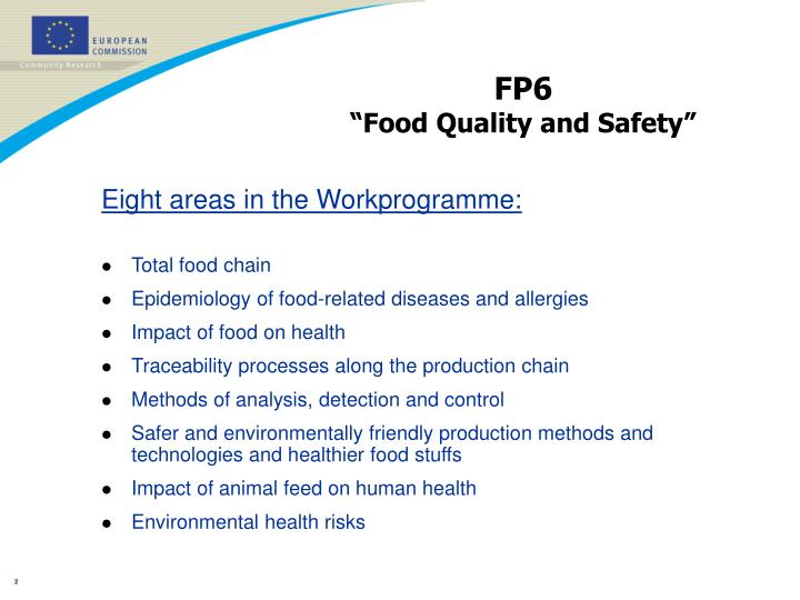 Fp6 food quality and safety