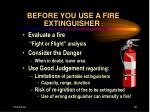 before you use a fire extinguisher