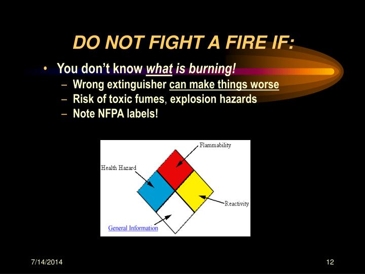 DO NOT FIGHT A FIRE IF: