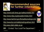 recommended sources for further information
