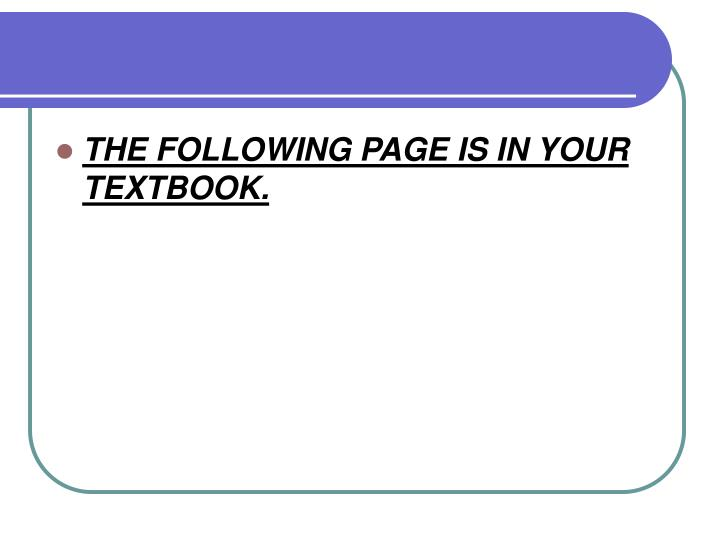 THE FOLLOWING PAGE IS IN YOUR TEXTBOOK.