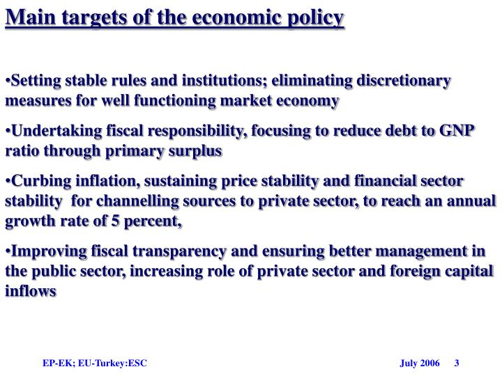 Main targets of the economic policy