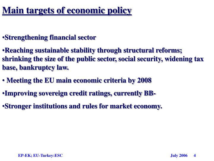 Main targets of economic policy