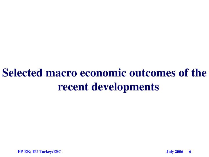 Selected macro economic outcomes of the recent developments