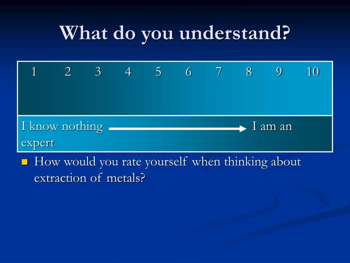 What do you understand?