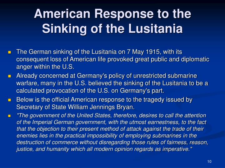American Response to the Sinking of the Lusitania