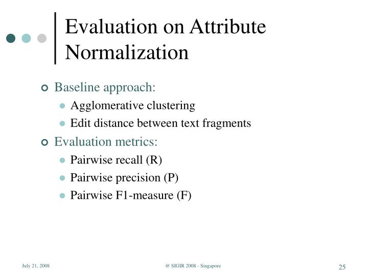 Evaluation on Attribute Normalization