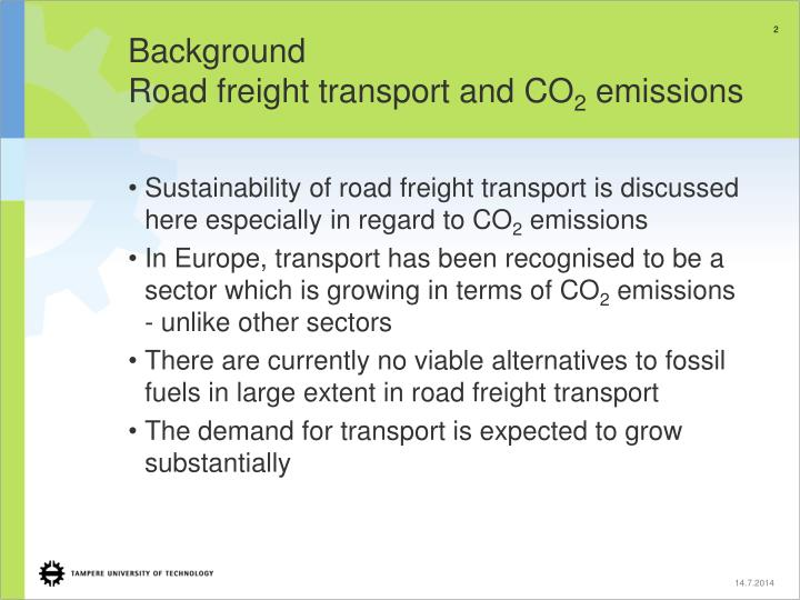 Background road freight transport and co 2 emissions
