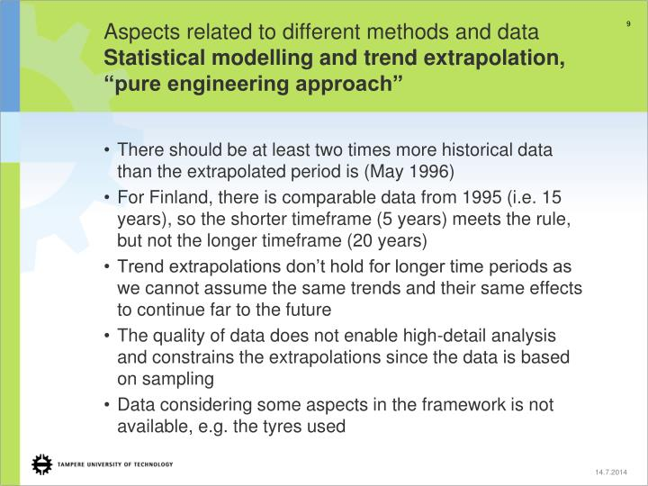 Aspects related to different methods and data