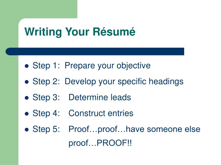 Writing Your Résumé