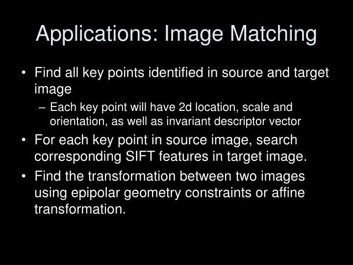 Applications: Image Matching