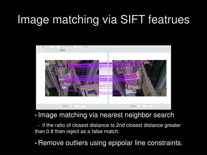 Image matching via SIFT featrues