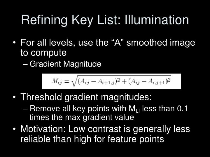 Refining Key List: Illumination
