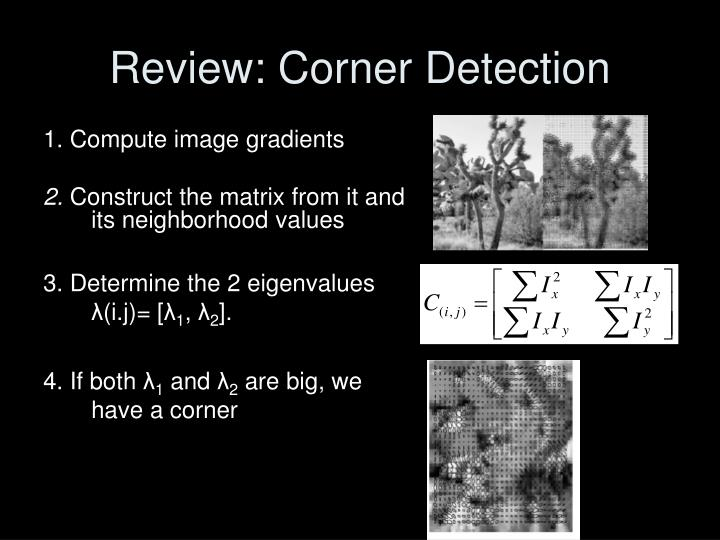 Review corner detection