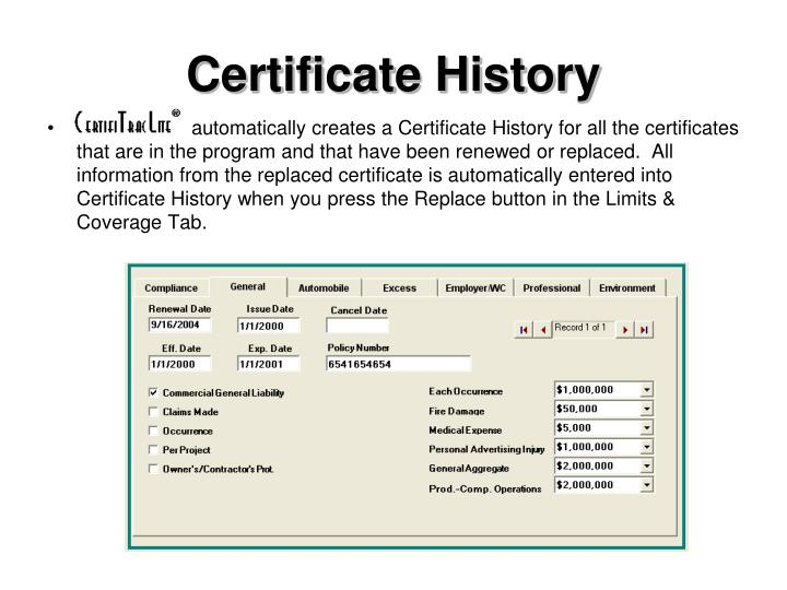 Certificate History