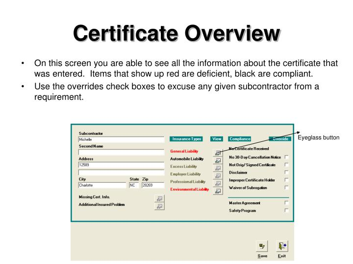 Certificate Overview