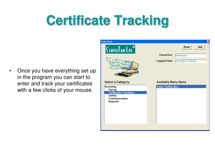 Certificate Tracking