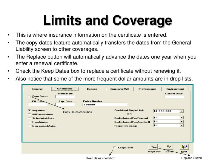 Limits and Coverage