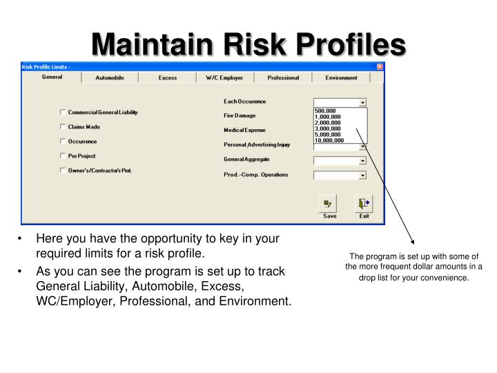Maintain Risk Profiles