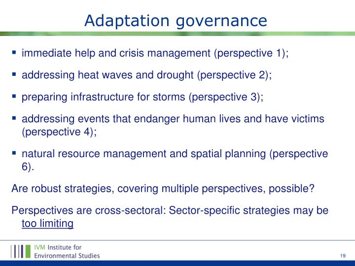 Adaptation governance