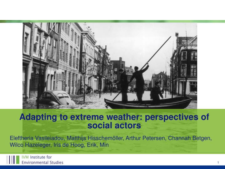 Adapting to extreme weather perspectives of social actors