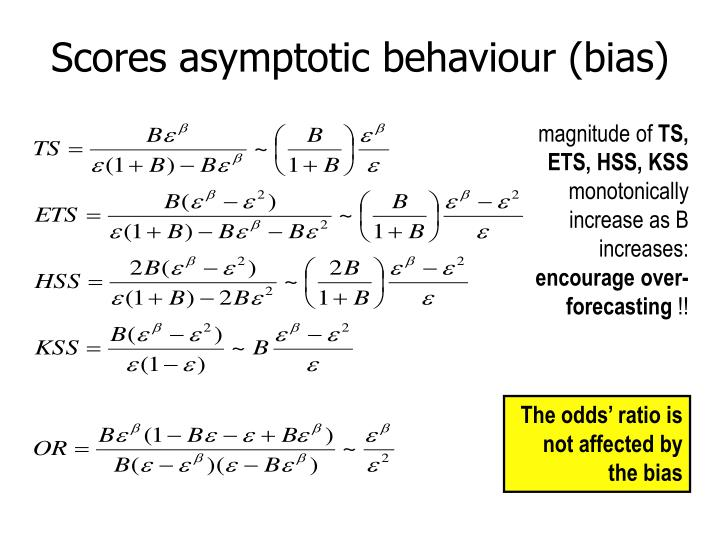 Scores asymptotic behaviour (bias)