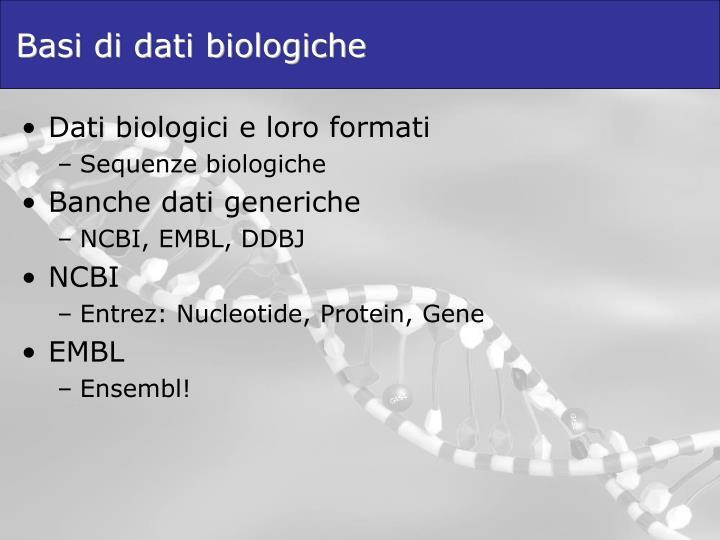 Basi di dati biologiche