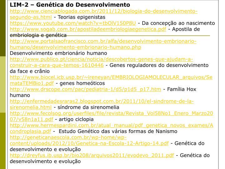 LIM-2 – Genética do Desenvolvimento