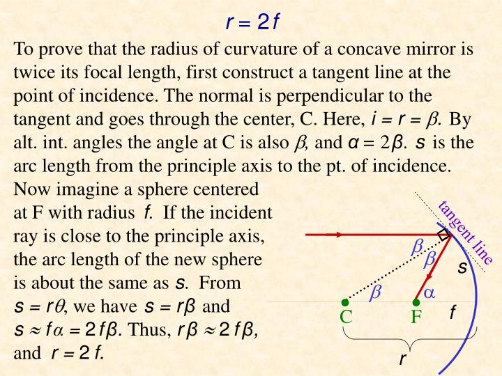 To prove that the radius of curvature of a concave mirror is twice its focal length, first construct a tangent line at the point of incidence. The normal is perpendicular to the tangent and goes through the center, C. Here,