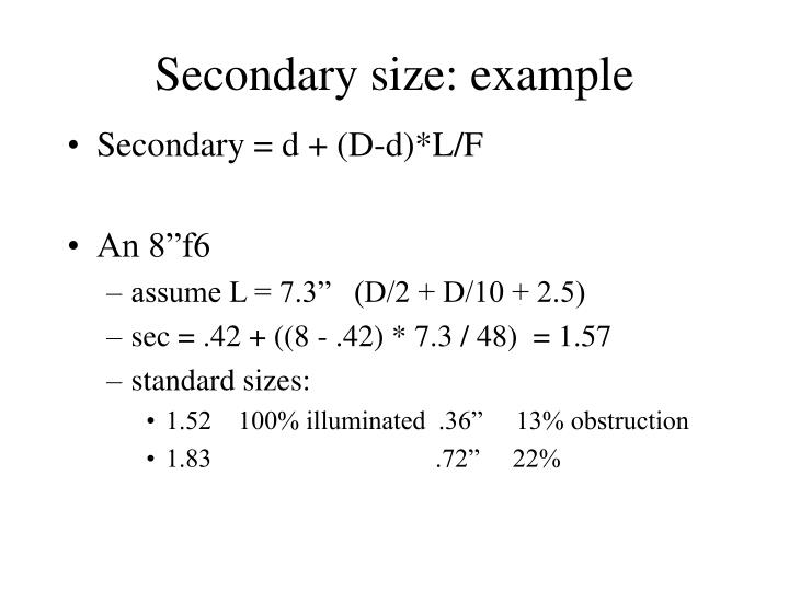 Secondary size: example