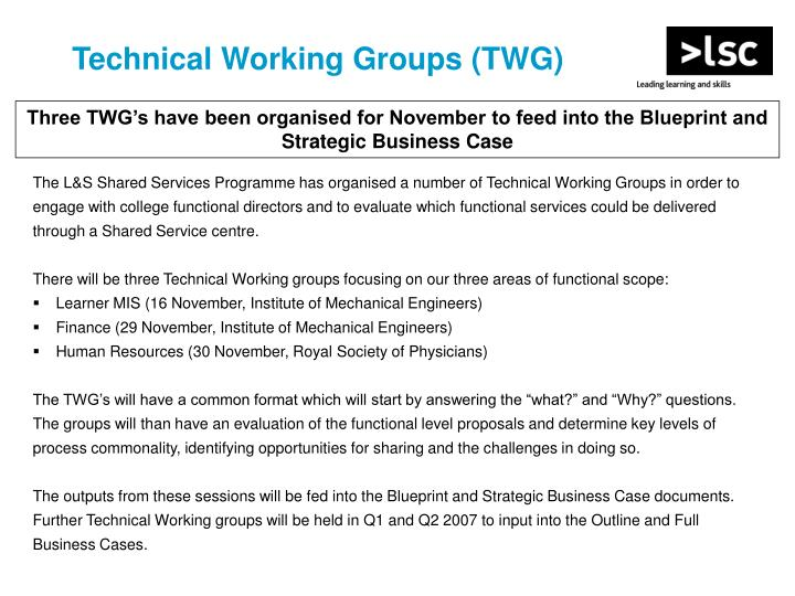 Technical Working Groups (TWG)