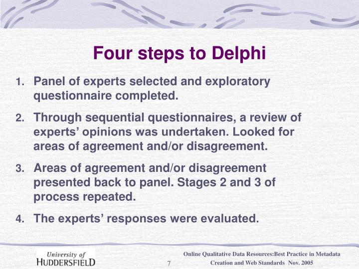 Four steps to Delphi