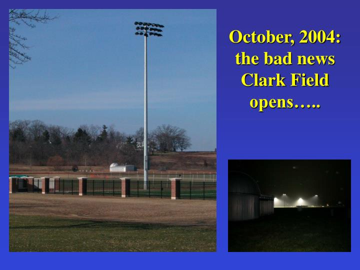 October, 2004: the bad news