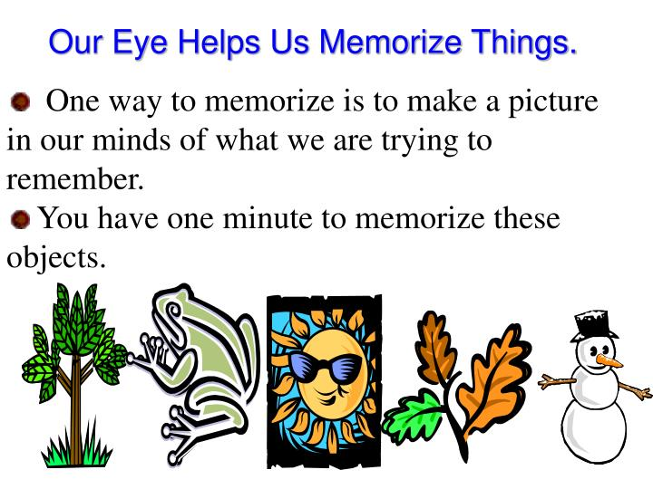 Our Eye Helps Us Memorize Things.