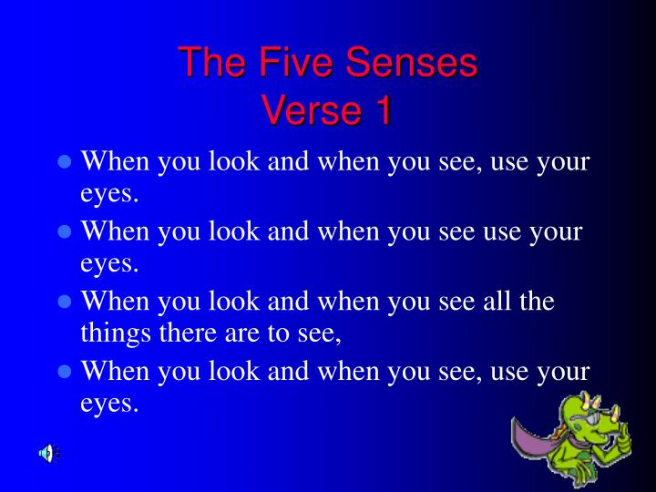 The five senses verse 1