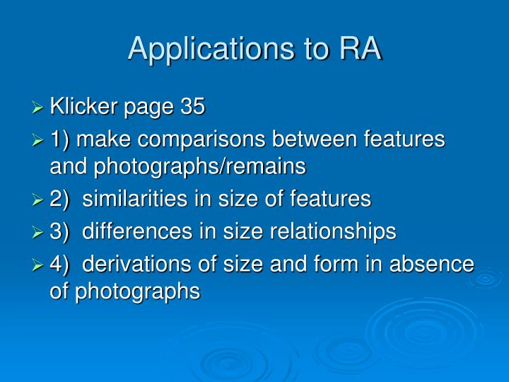 Applications to ra