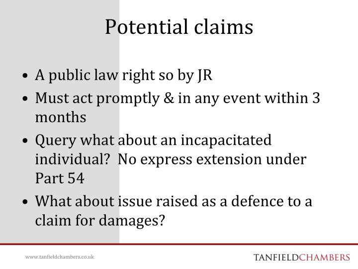 Potential claims