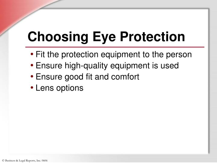Choosing Eye Protection