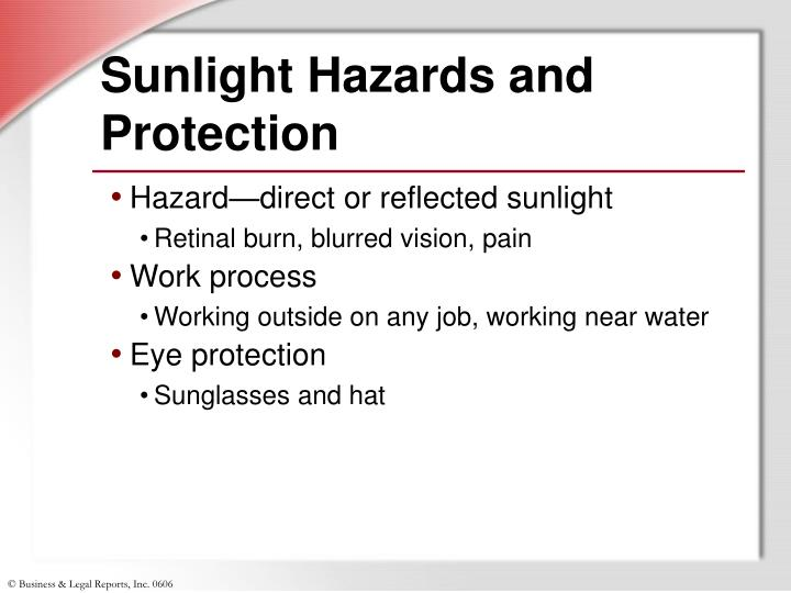 Sunlight Hazards and Protection