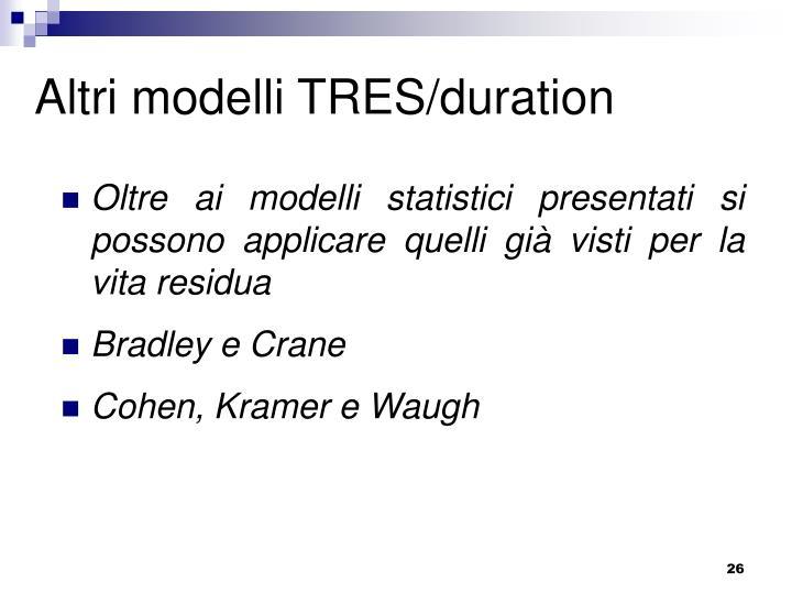 Altri modelli TRES/duration