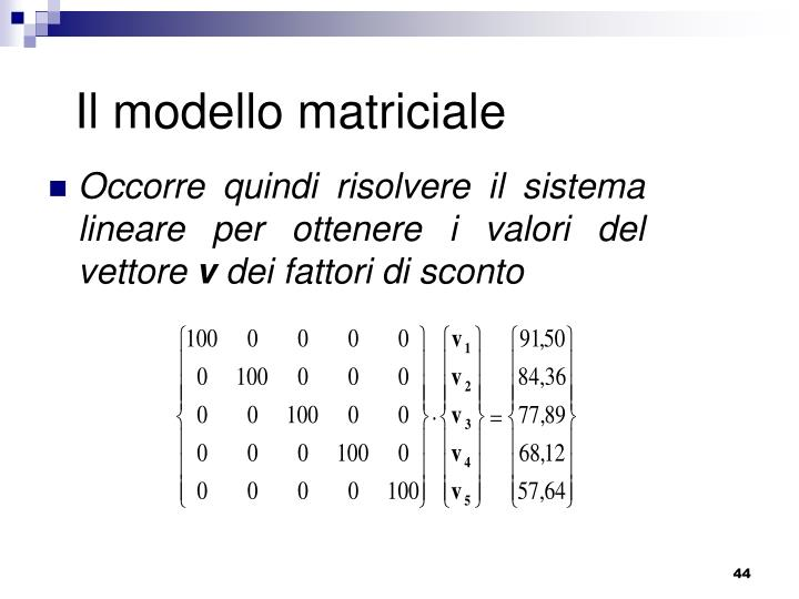 Il modello matriciale