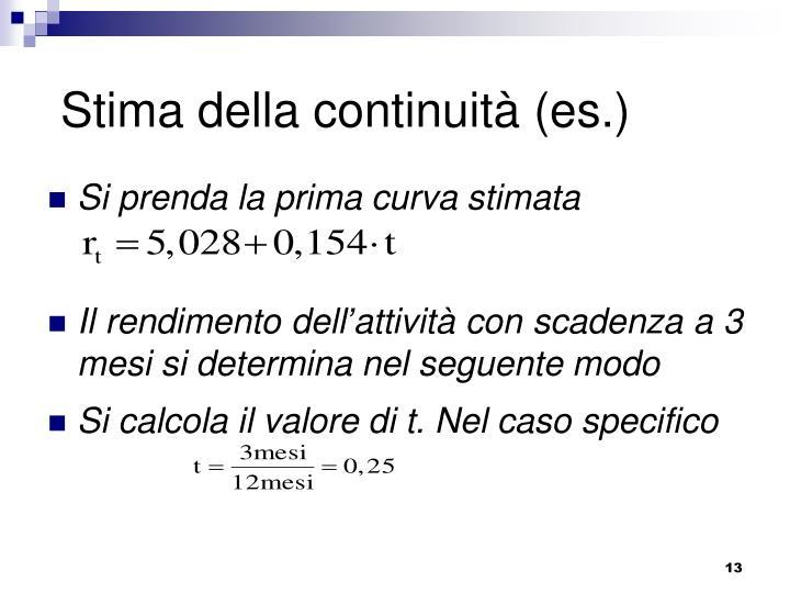 Stima della continuità (es.)