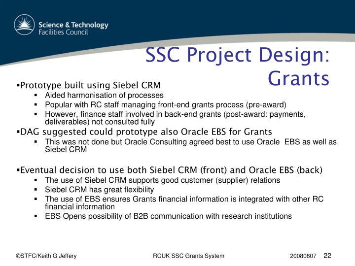 SSC Project Design: Grants